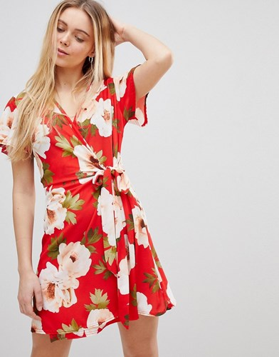Floral Peggy Film Red Wrap Dress Print on Print In Girls Large aYAw7q7U