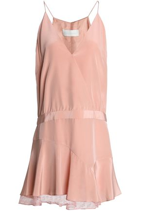 Michelle Mason Wrap Effect Lace Trimmed Silk Satin Mini Dress Blush RbmtCsn6Mz