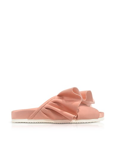 Joshua Sanders Shoes Pink Satin Ruffle Slide Sandals 3HooH8BY