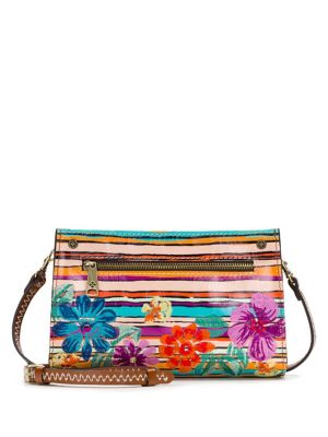 Patricia Nash Floral Embroidered Leather Crossbody Bag Tan duIpA