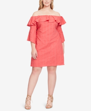 Jessica Simpson Trendy Plus Size Off The Shoulder Shift Dress Cherry Xzm5aO