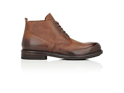 Barneys New York Grained Leather Lace Up Boots Brown fmNeOmn4WL