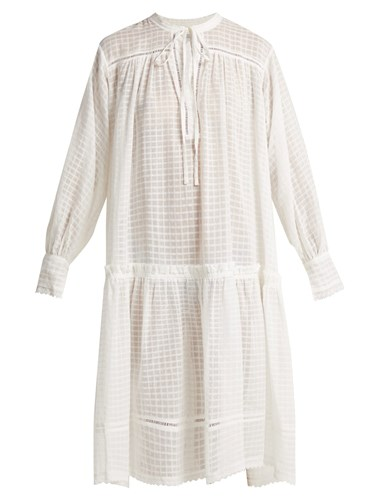 LEE MATHEWS Laura Checked Cotton Muslin Dress Ivory WBmkaDAHfa