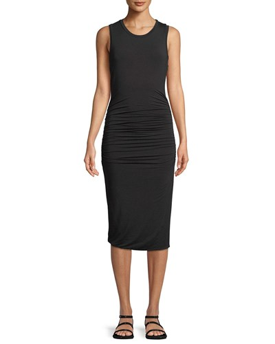 Halston Ruched Side Sleeveless Jersey Dress Black EY66Kj
