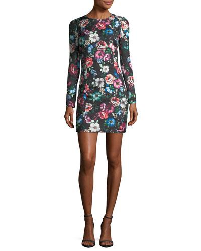 Black Halo Lively Long Sleeve Floral Printed Cocktail Dress Magic Night S7JAl