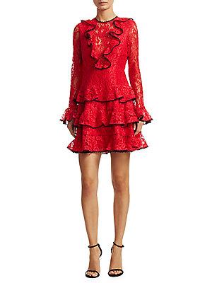 Alexis Red Mini Dress Ruffle Tracie z8WgFzv