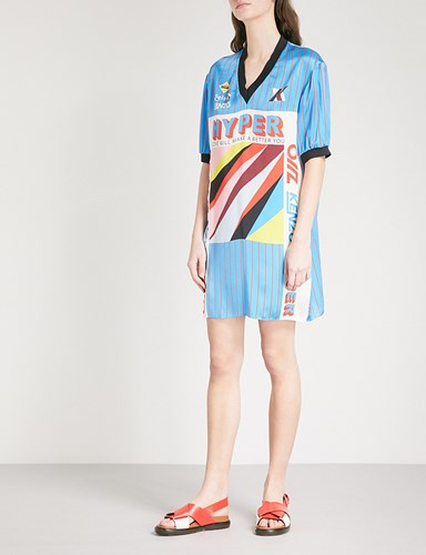 Kenzo Hyper Silk Oversized T Shirt Dress Turquoise SJ0MZ