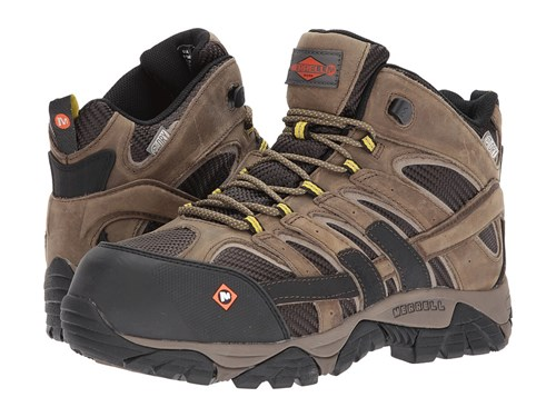 Merrell Work Moab 2 Vent Mid Waterproof Ct Boulder Men's Lace Up Boots Beige DHhwjbkJS4
