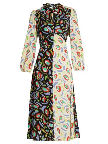 Duro Olowu Abstract Bird Print Tie Neck Crepe Dress White Multi yXsqs1n