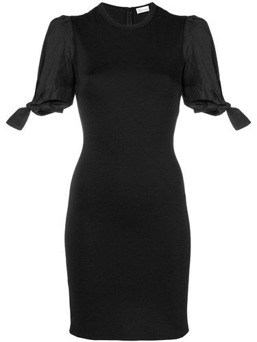 RED Valentino Tied Sleeves Fitted Dress Black ZVRWjKcIXR