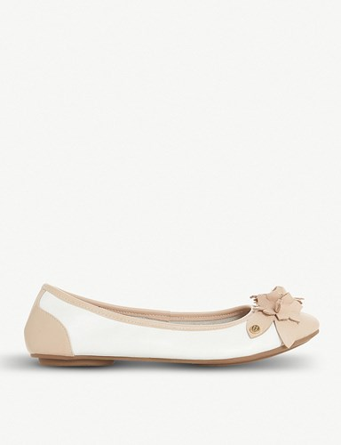 Dune Honeysuckle Floral Detail Leather Ballet Flats White Leather NReXQ