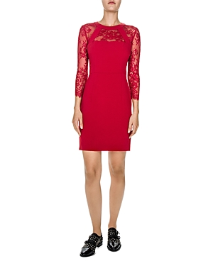 The Kooples Lace Inset Sheath Dress Red IVlSy