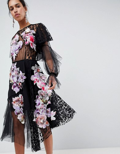 ASOS Edition Deconstructed Patchwork Dress Black 9XABvUrh