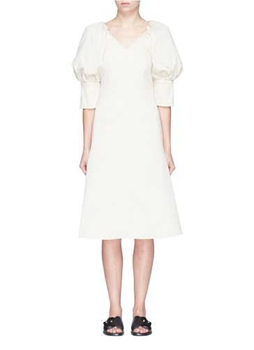 Twill Puff Sleeve AALTO Dress Neutral Ex7Uzqzw