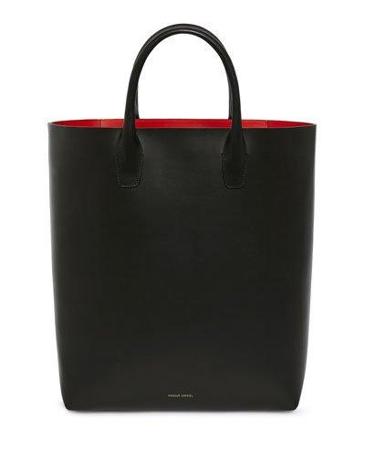 Bag Vegetable Mansur Gavriel Leather Black Red Tanned South North Tote 4gtqxg0w