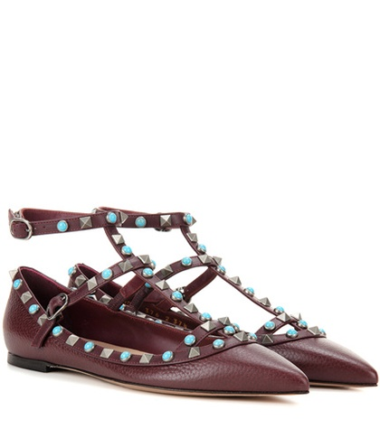 Rockstud Ballerinas Valentino Brown Rolling Leather HvxdxFz