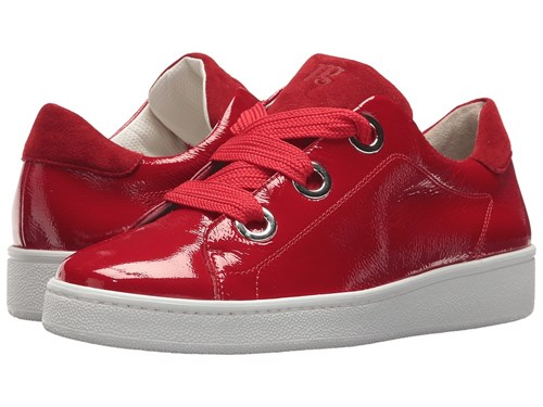 Paul Green Pardo Sneaker Red Scarlet Crinkled Leather Women's Lace Up Casual Shoes gIPwvPR