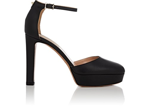 Valentino Garavani Leather Ankle Strap Platform Sandals Black ehxNjB