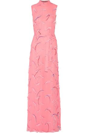 Gown Pucci Feather Pink Embroidered Baby Emilio Chiffon Embellished XqPSxdw