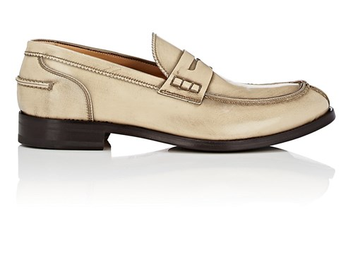 Antonio Maurizi Split Toe Burnished Leather Penny Loafers Ivorybone Li73wnz8