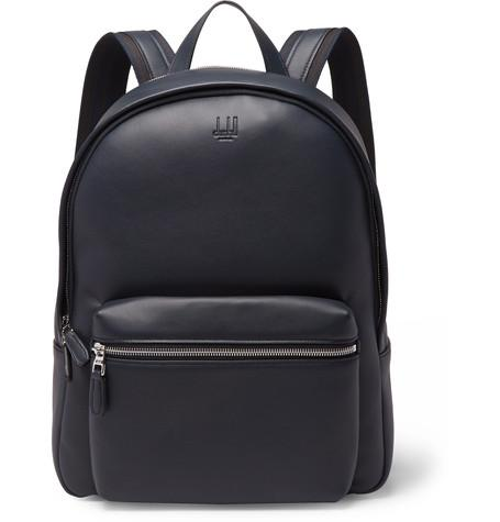 Dunhill Hampstead Canvas Panelled Full Grain Leather Backpack Midnight Blue fSaoN