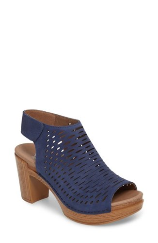 Dansko 'S Danae Block Heel Sandal Blue Milled Nubuck Leather jA7TEfVX