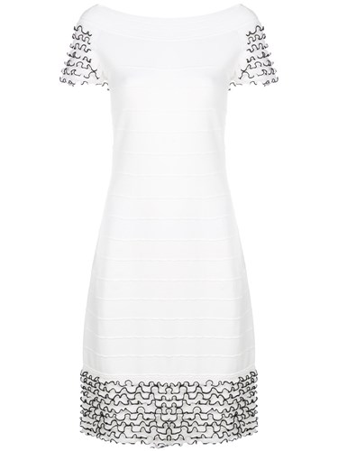 D.Exterior Frill Trim Knitted Dress White uYybo