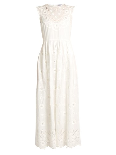RED Valentino Floral Embroidered Cotton Dress White F6b4yp