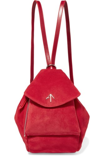 MANU Atelier Fernweh Mini Leather Trimmed Suede Backpack Red QCDnEk