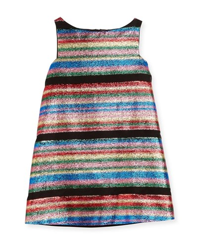 Milly Minis Multi Stripe Illusion Lurex Shift Dress Size 4 7 wpuHAr3VL6
