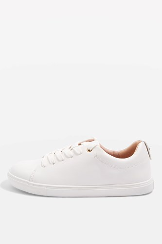 Topshop Coffee Lace Up Trainers White dlEt4O