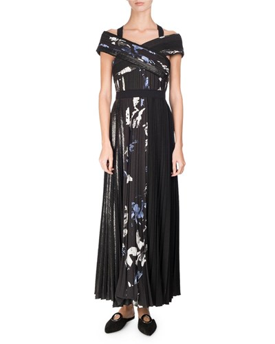 Proenza Schouler Long Pleated Floral Print Dress Multi Pattern XGrufHaf