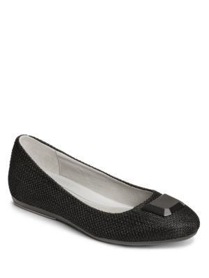 Aerosoles Spin Off Woven Ballet Flats Black White XQnLNy