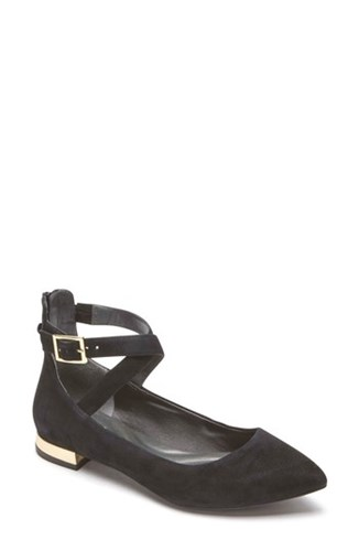 Rockport Zuly Luxe Total Motion Ankle Strap Flat Black Suede C5XYD