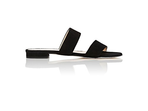 Barneys New York Suede Double Band Slides Black bRKiWOc7
