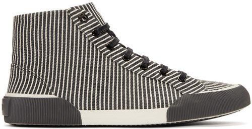 Sneakers Mid White Black And Striped Lanvin Canvas YqSRvx