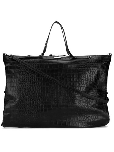 Saint Laurent Crocodile Embossed Oversized Tote Men Leather One Size Black Y1jGL