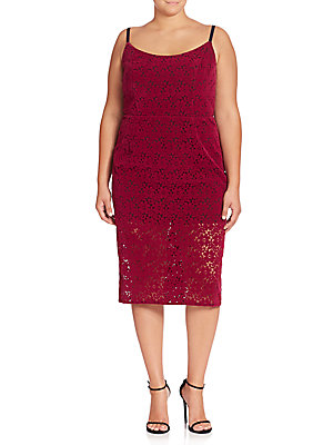 ABS, Plus Size Floral Lace Sheath Dress Mulberry