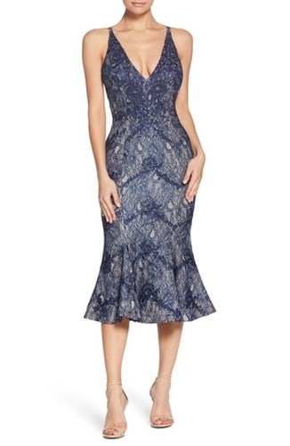 Isabelle Trumpet Population Dress Neck the Plunge Navy Nude Lace ZYPpqEw