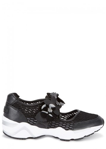 Suecomma Bonnie Flower Embellished Black Mesh Trainers pn7Red6vPE