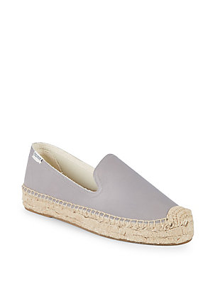 Soludos Platform Leather Espadrilles Dolphin Grey JHaxZP6sY