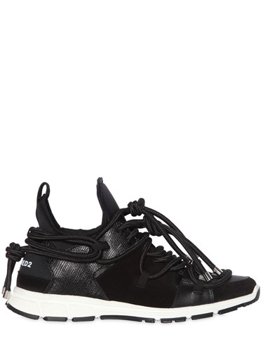 DSquared Bungy Jump Neoprene And Leather Sneakers pfPxNV