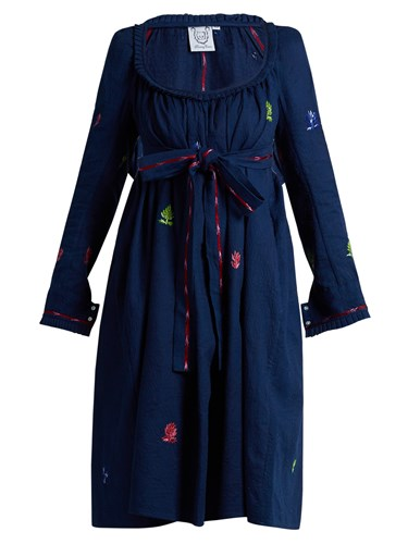 Thierry Colson Rosine Floral Embroidered Cotton Dress Blue Multi gef4AUcp