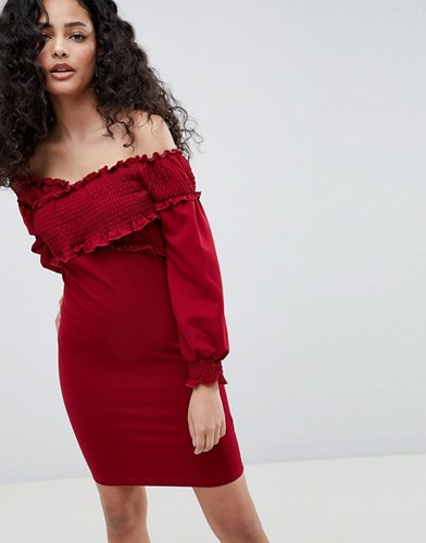 Parisian Off Shoulder Dress With Ruching Detail Red GQlLxKIg