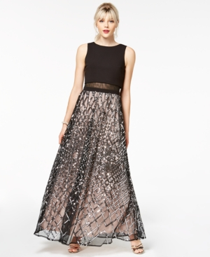 Say Yes To The Prom Juniors' Sequined Grid Popover Gown A Macy's Exclusive Style Black Champagne Zf5wqZ1X