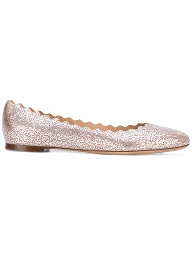 Chloé Scalloped Ballerina Flats Women Goat Skin Leather 37 Pink Purple lKyKcxcH