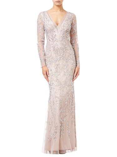Adrianna Papell Beaded Long Dress Blush obfrk