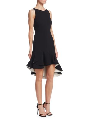 Halston Flounce Fit And Flare Dress Black Chalk tKpsuB