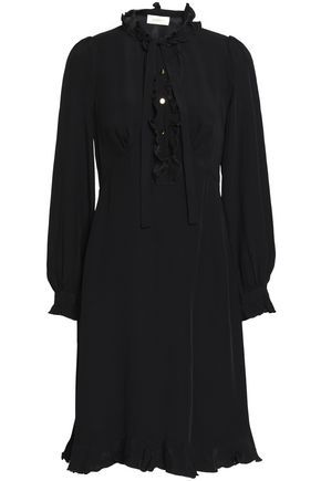 Zimmermann Crepe Dress Trimmed De Bow Black Chine Pussy Ruffle Shirt 1Tqwrn1Z