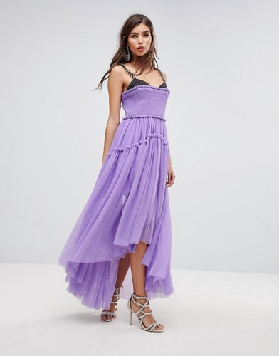 ASOS Edition Tulle Dip Back Maxi Dress With Chain Straps Purple ux1EpDPuDt